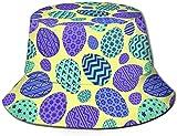 Sombrero de Cubo de Viaje con Estampado de árbol de Cielo Gris Unisex Gorra de Pescador de Verano Sombrero de Sol-Huevo de Pascua Vectorial sin Costuras