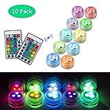 10 pcs Mini Lumières LED Submersible, Lampe Sous-Marines Étanche RGB Multicolores Bougies LED Éclairage pour Base de Vase,...
