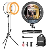 Neewer 36cm Kit de Luz LED Anular Regulable, Incluidos: Compacta Luz LED Bicolor/Soporte C...