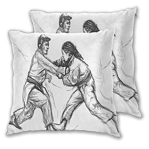 NUXIANY Funda de Cojín,Karate Artes Marciales orientales Practicando Hombres Figuras Dibujado a Mano Tradicional Funda de Almohada para Cojín Cuadrado Decoración para Hogar,Juego de 2 45x45cm
