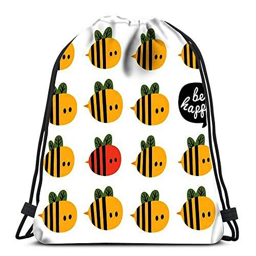 Sacs à Dos à Cordon de Serrage Sports Cinch Be Happy Salutation Une Ruche d'abeilles de Dessin animé Rouge et Jaune pour Le Gymnase de l'école