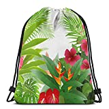 Lmtt Zaino con coulisse Hibiscus Red Ginger e Anthurium Flowers Sports Gym Sackpack Travel Bag