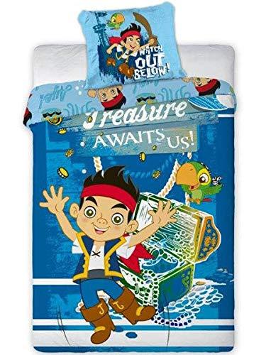 Unbekannt Juego de cama infantil de 2 piezas, funda nórdica de 140 x 200 cm y funda de almohada de 70 x 80 cm, diseño de Jake Neverland, color azul marino