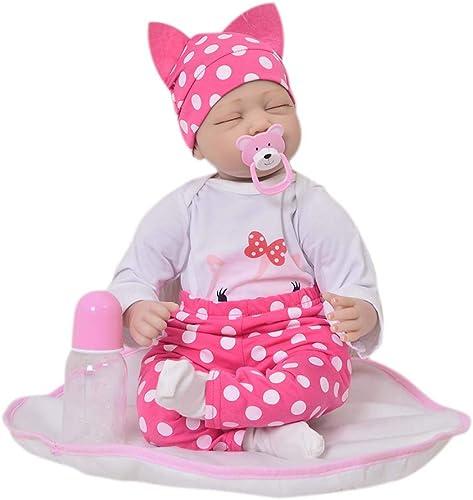 Baby Dolls Schlafendes Baby 22 realistische Reborn, Weiße Silikon realistisch aussehende Neugeborenes Baby Girl Doll Real Touch Beste Geburtstagsgeschenk für mädchen Alter 3