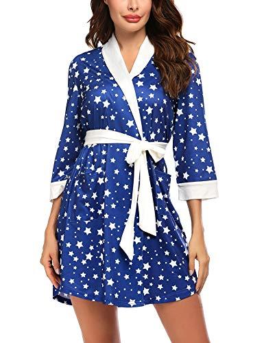 Hotouch Women Robe Soft Travel Kimono Robes Cotton Short Bathrobe Sleepwear Loungewear(Navy Star,Small)