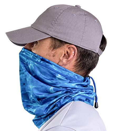 Aqua Design Adjustable Drawstring Neck Gaiter Face Mask All-Season Cover For Men: Royal Ripple