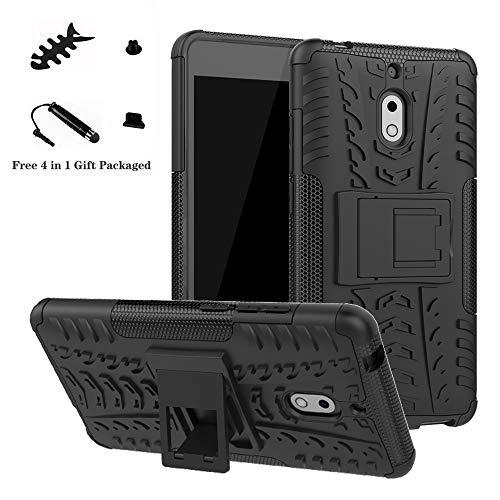 LiuShan Nokia 2.1 Coque, Shockproof Robuste Impact Armure Hybride Béquille Housse Coque Étui Couverture pour Nokia 2.1 (Not fit Nokia 3.1) Smartphone,Noir