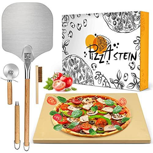 MIBOTE 6 Pcs Pizzastein aus Cordierit für knusprigen Set Backofen & Gasgrill inkl. Pizza Stein Mit Pizzabürste,Pizza Stone Pizzaschneider Pizzaboden wie vom Italiener Pizzaschieber Rezeptbuch