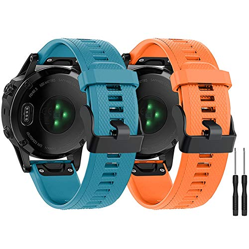 Watbro Compatible with Fenix 6 Pro Bands, Soft Silicone Quick Fit 22mm Watch Bands Replacement Strap for Fenix 6/ Fenix 6 Pro/Fenix 5 Plus/Fenix 5/ Forerunner 935/ Forerunner 945 Smartwatches