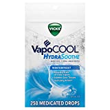 Vicks VapoCOOL, HydraSoothe Medicated Drops, Menthol Soothes Sore Throat Pain Caused by Cough, Winterfrost Flavor, 250 Drops (5 Packs of 50)