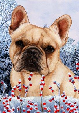 Best of Breed French Bulldog Cream Winter Berries Garden Flag