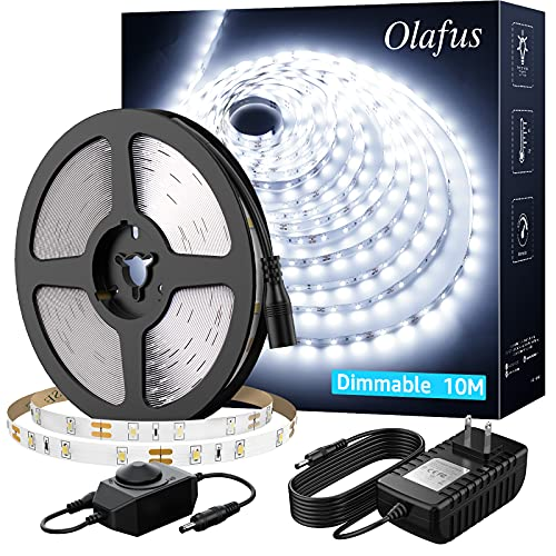 Olafus White LED Strip Lights, 32.8ft Dimmable Vanity Lights, 6000K Daylight 12v LED Light Strip, 10m Cuttable Tape Lights, Ambient Lighting Tape for Bedroom TV Cabinet Stair Mirror(600 LEDs 2835)