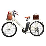 Electric Bike for Adult,26' 250W 36V/12.5Ah Electric Bicycle Removable Battery Nakto Electric Bikes for Adults City Commuter Ebike Women Electric Bikes with Basket,Shimano 6-Speed Gear,3 Riding Modes