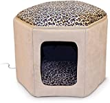 K&H Pet Products Thermo-Kitty Sleephouse Heated Pet Bed Tan/Leopard 12' x 17' 4W