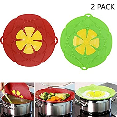 2Pcs Spill Stopper Lid Cover ,Boil Over Safeguard,Silicone Spill Stopper Pot Pan Lid Multi-Function Cooking Tool ,Kitchen Gadgets,Christmas Gift for Cooking lover,Parents,Friends, Green& Red