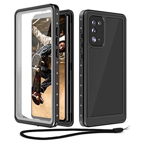 Beeasy Funda Samsung Note 20 5G Impermeable, IP68 Certificado Sumergible Carcasa,360 Grados Protección con Protector de Pantalla Incorporado,Militar Antigolpes Antichoque Estanca,Negro