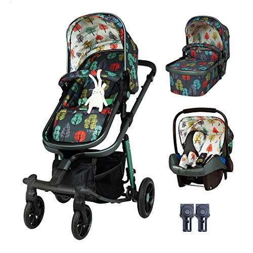 Cosatto Giggle Quad Pram & Pushchair Set (3pcs) – Travel System from Birth, Baby Car Seat, Adaptors & Raincover (Hare Wood)