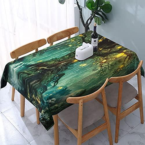 SUDISSKM Mantel Rectangular Bosque Cuentos De Hadas Linternas Y Cascadas Bajo Fantasía Gran Árbol Bohemio Antimanchas Lavable Manteles para JardíN Cocina Comedor 137x183cm