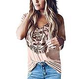 FRAUIT Camiseta Suelta De Mujer Manga Corta Verano Cuello en V Camiseta con Estampado Casuales Fiesta Vacaciones Moda Camisa T-Shirt Basica Verano Manga Corta Camiseta Blusa Tops