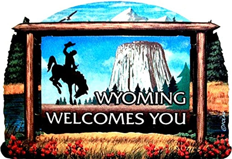 Wyoming State Welcome Sign Wood Fridge Magnet