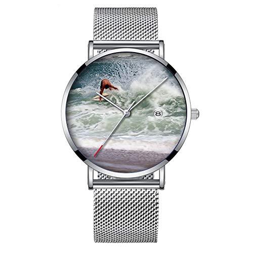 Minimalistische Mode Quarz-Armbanduhr Elite Ultra Thin wasserdichte Sportuhr mit Datum mit Mesh-Band 199.Skimboarden
