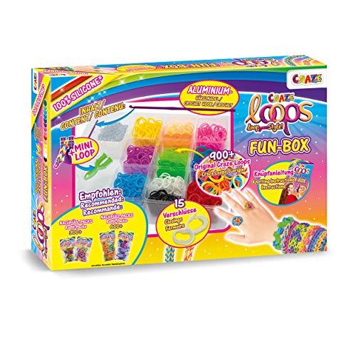 CRAZE Loops Fun Box Komplettset Knüpfringe Silikonringe Häkelnadel Armband Silikon Bänder Mega US-Trend 20814, Kinderschmuck Bastelset
