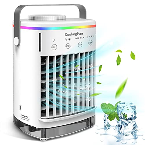 Portable Air Conditioner Fan, Personal Air Cooler Mini Air Conditioner with 4 Fan Speeds and 7 Color LED Light 8H Timer Desktop (White)