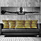DHLHL 5 Paneles Michael Jordan Wings Baloncesto Estrella Lienzo Carteles Decoración Vintage Pinturas Decoración para el hogar Imágenes de Arte de Pared para Sala de Estar 30cmx30cm con Marco