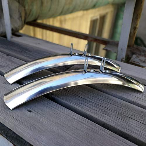 LYQQQQ Rennrad Fenders 700C Vintage Fahrrad Retro-Fahrrad Fixed Gear Fahrrad Fender 700C Fahrrad Praktische Teile Silber Aluminum Alloy (Color : A Pair of Sliver)