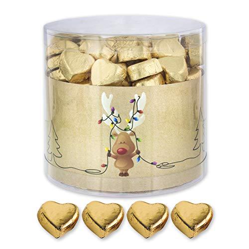 Günthart 150 Stück gold Schokoladen Herzen mit Nougatfüllung | Nougatcreme Rudolf | Schokoladenherzen gold | Give away | goldene Herzen aus Schokolade | Weihnachten (1,2 kg)