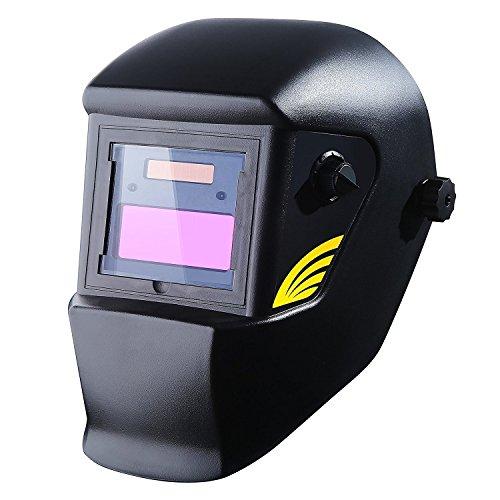 DEKOPRO Welding Helmet Solar Powered Auto Darkening Hood with Adjustable Shade Range 4/9-13 for Mig Tig Arc Welder Mask Black