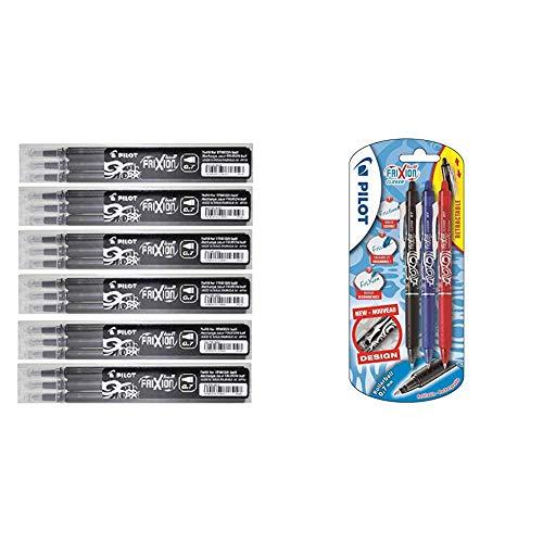Pilot Negro Frixion Clicker Retráctil Fino Punta redonda Borrable + Bolígrafo roller de gel de tinta borrable (3 unidades), color negro, rojo y azul