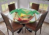 Mantel redondo para cocina, mantel con bordes elásticos, diseño de barco en la playa Mahe Island Laguna Seychelles exótica costa imagen azul verde arena marrón