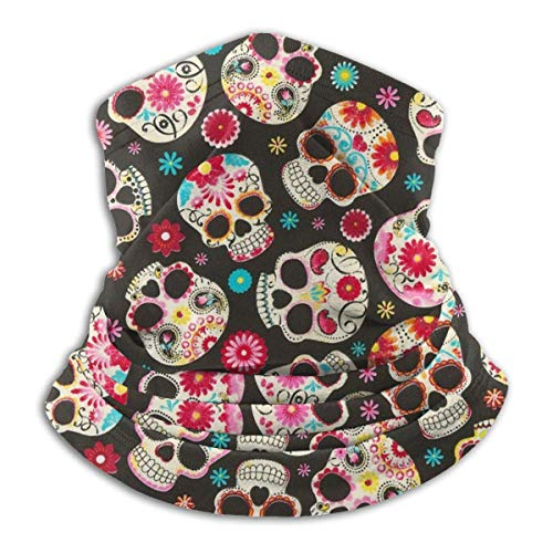 Black Sugar Skulls Unisex Microfiber Neck Warmer Headwear Face Scarf Mask For Winter Cold Weather Mask Bandana Balaclava