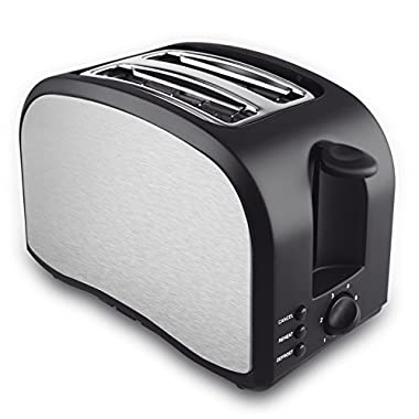 2 Slice Toaster with Wide Slot Compact Brushed Stainless Steel Slice Toaster with Removable Crumb Tray 2-Slice Toaster with Defrost, Reheat, and Cancel Buttons