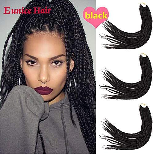 6 Packs Eunice Hair Lange Flechten Hair Extensions 24 Inch Colorful Kunsthaar Haar für Heimwerker Crochet Box Zöpfe 100Gram/Pack Kunsthaar Braids Haarverlängerung 20 Wurzeln/Pack (schwarz)