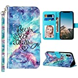JanCalm iPhone Xs Case,iPhone X Wallet Case 3D Pattern PU Leather [Wrist Strap][Card Holder/Cash Slots][Kickstand Feature] Flip Cover Designed for iPhone X/XS (5.8 inch) (Never Stop)