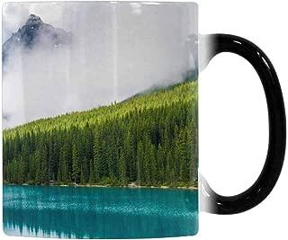 InterestPrint Funny Morphing Coffee Mug, Mountain Moraine Lake Banff National Park Alberta Canada Heat Sensitive Color Changing Tea Cup Mug Coffee Mug, 11oz Mug for Christmas Thinksgiving Festival