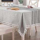 Vailge Tischdecke Rechteckige Tischtuch Leinendecke Leinen Tischdecke Abwaschbar, Tischdecken Wasserabweisend mit Quaste Edge Tischwäsche für Home Küche Dekoration (Grau, 140 x 180 cm)