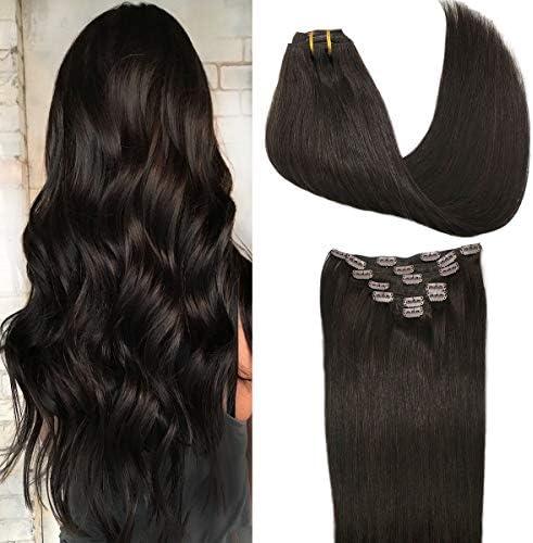 GOO GOO Dark Brown Hair Extensions Clip in Human Hair Straight Thick 7pcs 120g Human Hair Extensions product image