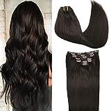 GOO GOO Dark Brown Hair Extensions Clip in Human Hair Straight Thick 7pcs 120g Human Hair Extensions Clip in Remy Hair Extensions 16 Inch