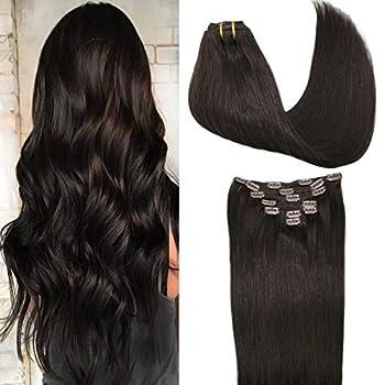 GOO GOO Hair Extensions Dark Brown Clip in Human Hair Extensions 120g Straight Natural Hair Extensions Thick Clip in Remy Extensions 20 Inch