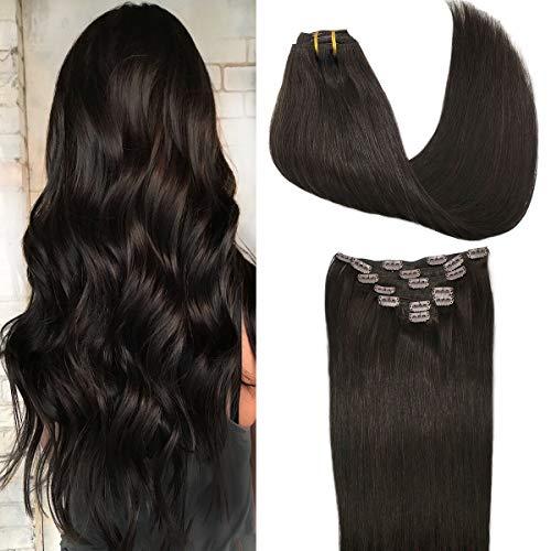 GOO GOO Human Hair Extensions Clip in Dark Brown Remy Hair Extensions Straight Thick 120g Clip in Real Natural Hair Extensions 18 Inch