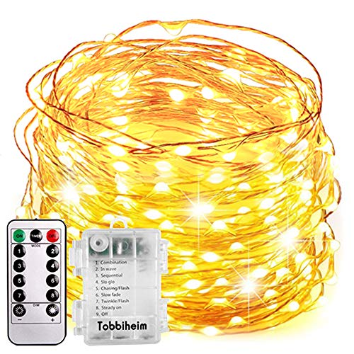 Tobbiheim Batterie Lichterkette Außen 100 LEDs 12 Meter IP68 Wasserdicht 8 Modi mit Fernbedienung und Timer DIY Dekoration Kupferdraht für Weihnachten, Garten, Hochzeit - Warmweiß