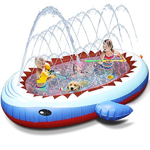 Tobeape Sprinkler Pad Kinder Sprinkler Pool, Sprinkler Planschbecken Play Matte für Kleinkind im Freien Sommer Garten Aufblasbares Wasserspielmatte für Jungen Mädchen Hund,170cm