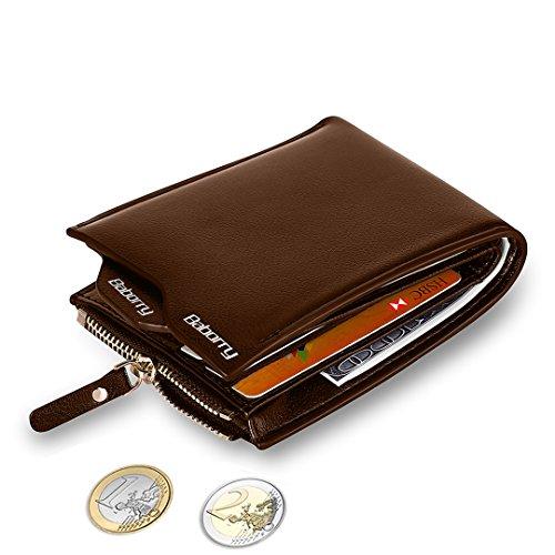 MPTECK @ Marrón Cartera Bloqueo RFID para hombre Estilo plegable Monedero Billetera de PU Cuero con Bolsillo para monedas y Crédito Tarjetas Ranuras Portatarjetas extraíble para Identificación Tarjeta