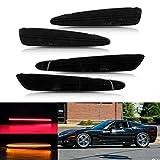 4 piezas de lente ahumada repetidor lateral luz marcador lateral compatible con C/hevrolet Corvette C6 2005-2013 delantero trasero