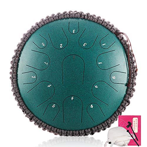 LOKE Stahlzunge Trommel 15 Hinweise 13 Zoll Harmonic HandPan Trommel, Rhythmusinstrument, Tank-Drum Chakra Drum für Meditation, Yoga und Zen mit Reisetasche,F