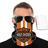 Harley Davidson Motorcycle Facial Accessories for Men Women, Half Face Sun UV Dust Wind Protection Breathable Rave Face Scarf Neck Gaiter for Biker Riding with 6 Filter