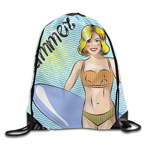 Needyo Mochila de Cuerda,Bolsas de Deporte,Surfer Girl Beautiful Woman Standing On The Beach Drawstring Backpack Bag Sackpack Cinch Tote Sports String Backpack Gym Bags for Gym or Traveling